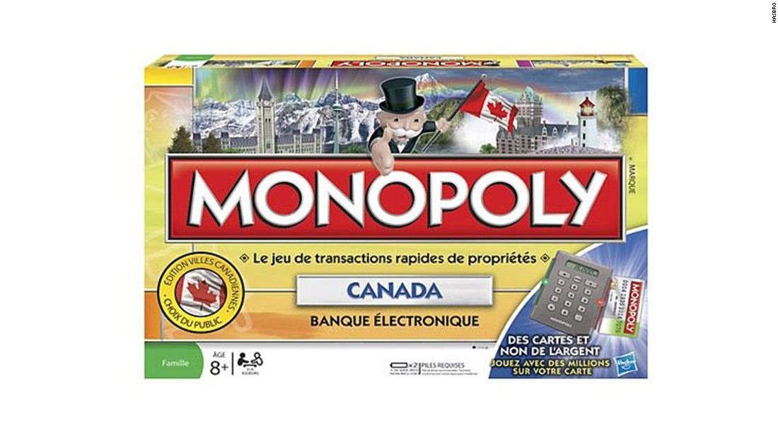 The Canadian edition of Monopoly is just like the American edition but far more polite. The street names have changed over the years, though instead of reflecting increasingly expensive neighborhoods like the American edition, in the 1982 and 2000 editions, they simply go from east to west across the country. The 2010 edition allowed players to vote on their favorites and increased rents by a factor of 10,000. That explains the credit cards.