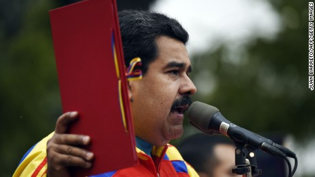 Venezuelan President Nicolas Maduro, speaking in Caracas in 2015, will be sworn in for a second six-year term Thursday.
