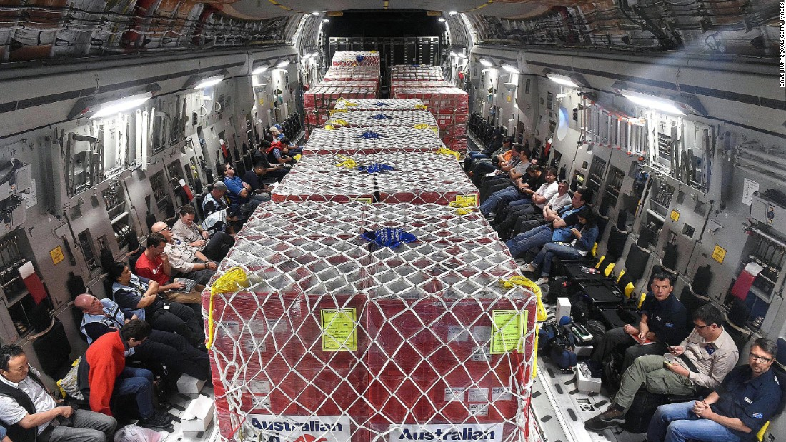 Aid is on board a Royal Australian Air Force C-17 Globemaster transport aircraft headed to Port Vila on Monday, March 16.