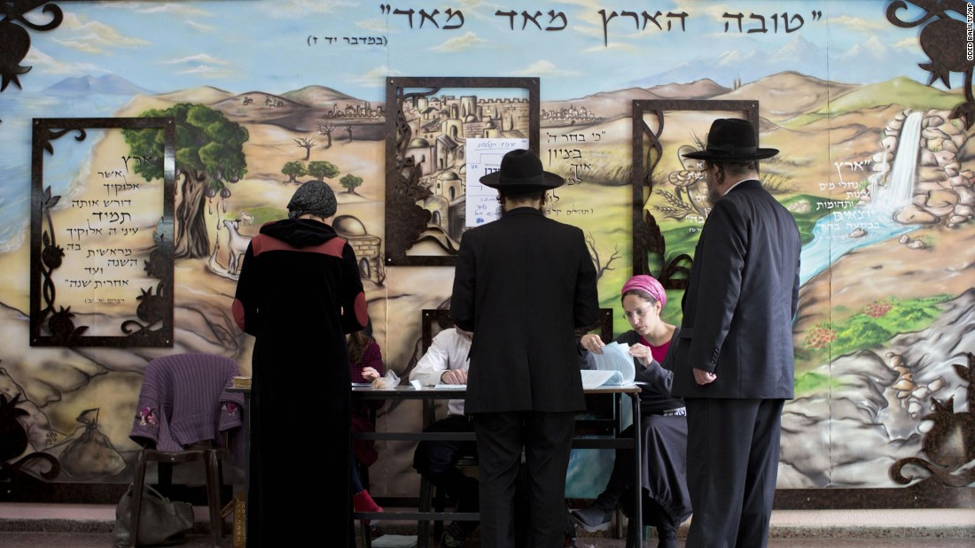 People line up to vote in Bnei Brak on March 17.