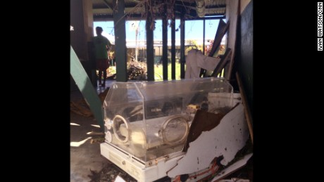 An infant incubator was  ruined after the storm. Doctor at Tanna's only hospital says storm damaged medical equipment.