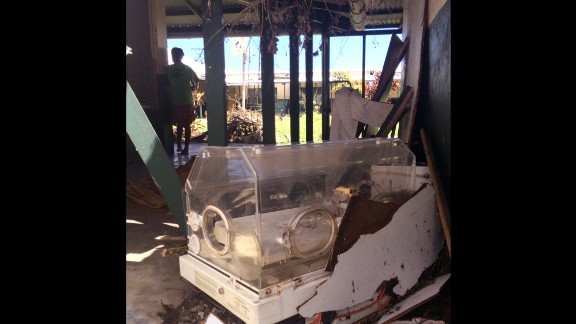 An infant incubator was  ruined after the storm. Doctor at Tanna