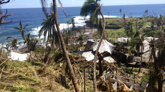 A tourist resort battered by Tropical Cyclone Pam on Tanna island. . Many are subsistence farmers. The storm destroyed many gardens which people rely on to feed their families.