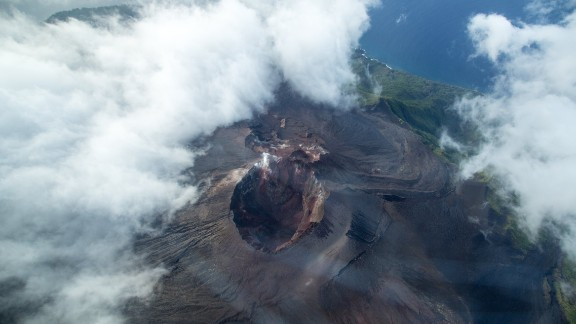 Flying over the Lopevi volcano, heading back towards Puerto Ayora, Vanuatu, in November.