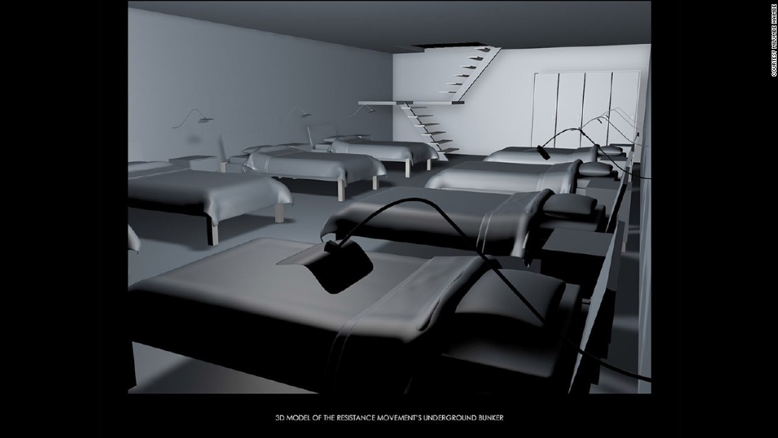 A 3D model of the resistance movement's underground bunker.