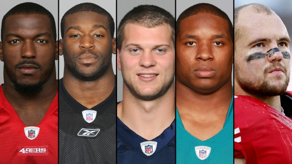 NFL players taking early retirement.   From left, San Francisco's Patrick Willis, Pittsburgh's Jason Worilds, Tennessee's Jake Locker, Oakland's Maurice Jones-Drew and 49er's linebacker Chris Borland surprised football fans recently with their early retirements.