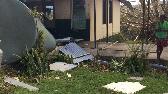 Storm-tossed debris litters the only hospital on Tanna Island.