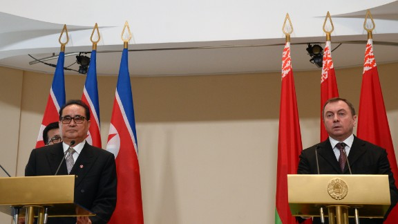 North Korean Foreign Minister Ri Su Yong stopped in Belarus last week. At a meeting in Minsk, Belarus and North Korean officials discussed the UN and the principles of non-interference, according to North Korean state media, KCNA. Ri is seen with Belarus Foreign Minister Vladimir Makei on March 9, 2015.