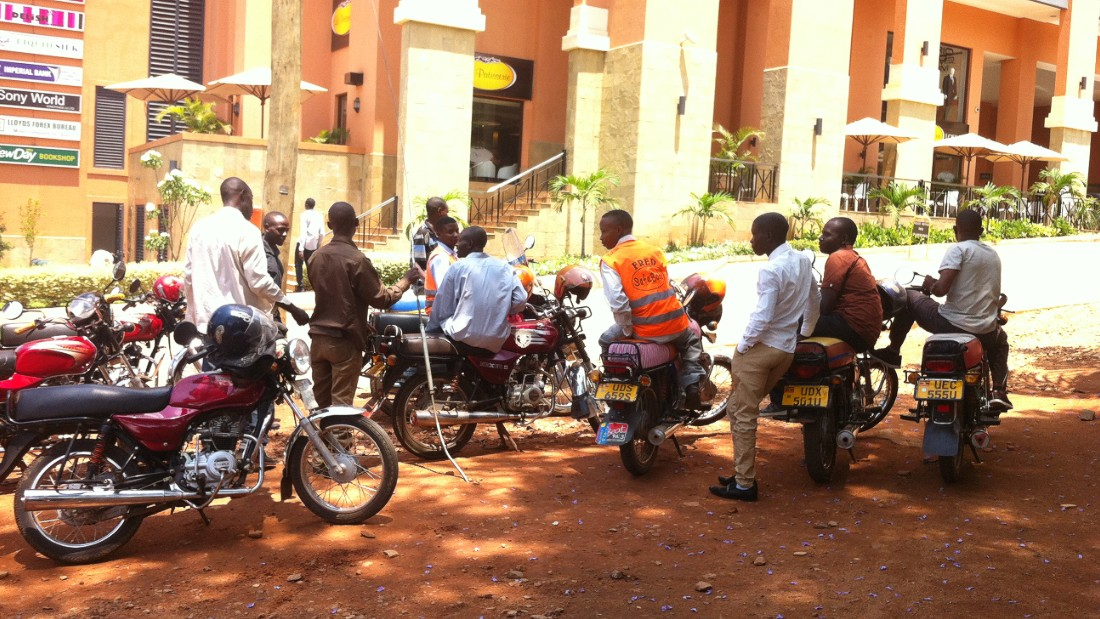 Boda Bodas are a staple of Ugandan transport and can be found on every street corner throughout Kampala.