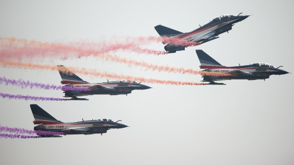 J-10 fighter jets on display at the 2014 Chinese Airshow in Zhuhai.