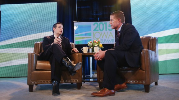 Cruz (left) fields questions from Bruce Rastetter at the Iowa Ag Summit on March 7, 2015, in Des Moines, Iowa. The event allows the invited speakers, many of whom are potential 2016 Republican presidential hopefuls, to outline their views on agricultural issue.