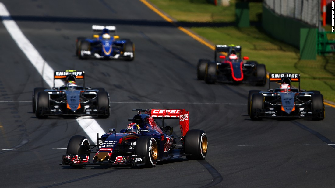 The Belgium-born Dutch driver (center) was on course to be the youngest points scorer before his Toro Rosso hit engine trouble in Melbourne.