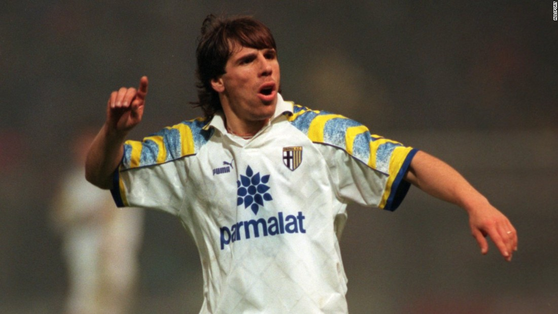 Gianfranco Zola in action for once-proud Parma in November, 1995. Zola won the UEFA Cup with the club that year and the UEFA Super Cup in 1993.