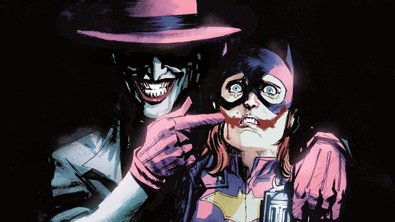 Batgirl is menaced by the Joker in a comic book cover that was pulled after criticism on social media.