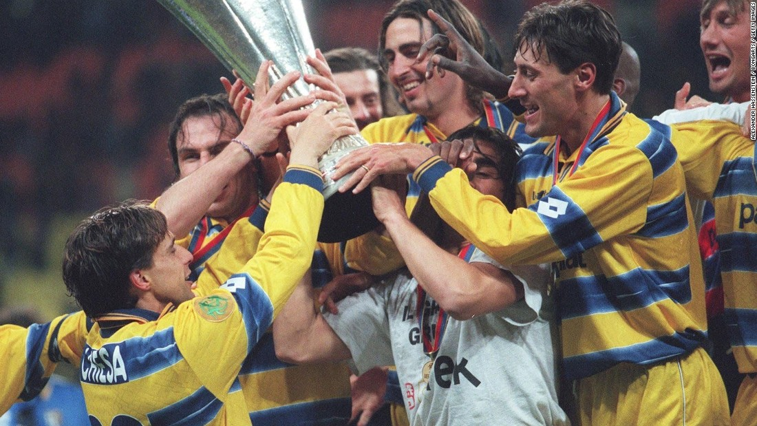 The 1999 Parma team celebrates its UEFA Cup victory over Olympic Marseille in Moscow.