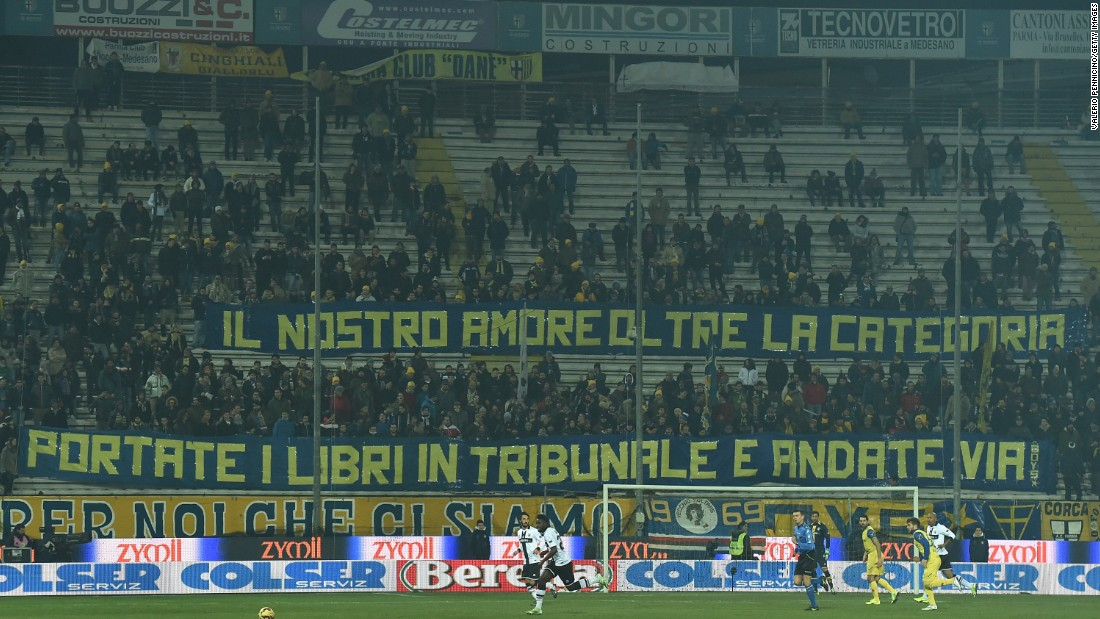 Parma fans display a giant banner during a home match against AC Chievo Verona at Stadio Ennio Tardini on February 11, 2015