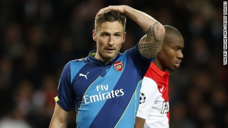 Olivier Giroud scored Arsenal's first goal during their second leg tie in Monaco.