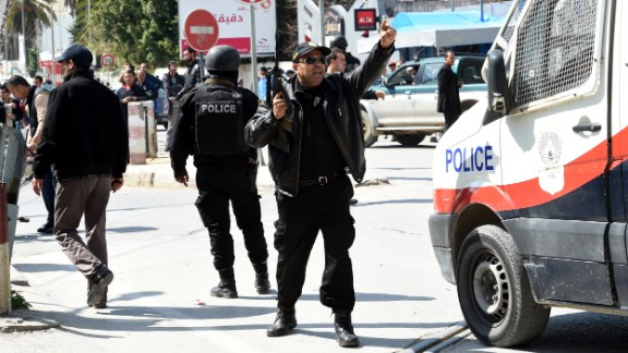 Tunisian security forces secure the area around Bardo Museum.