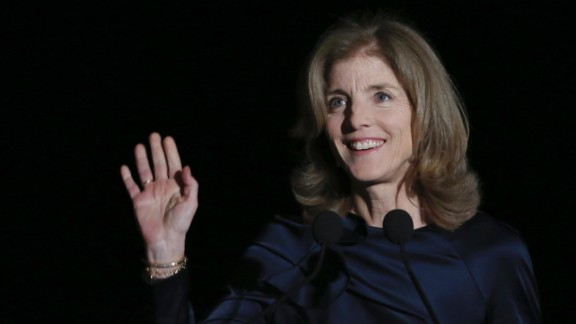 Caroline Kennedy, U.S. Ambassador to Japan, waves before speaking at an event in Tokyo on Wednesday, March 18. Japanese authorities are investigating death threats against Kennedy, according to Japanese media reports and international wire services.