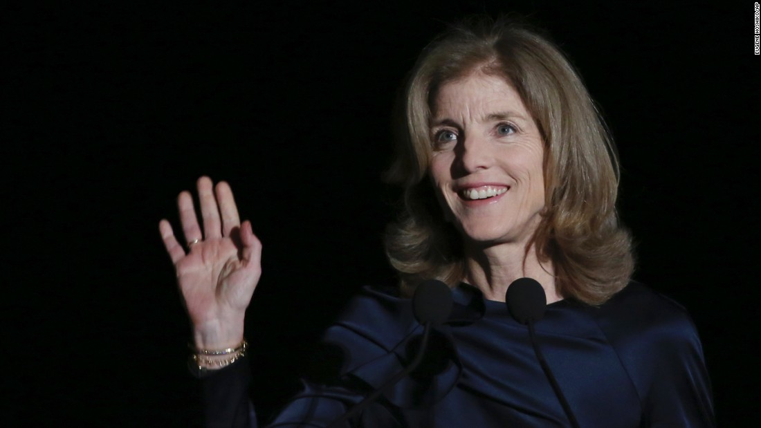 "Caroline Kennedy, U.S. Ambassador to Japan, waves before speaking at an event in Tokyo on Wednesday, March 18. Japanese authorities are <a href=""http://www.cnn.com/2015/03/18/politics/caroline-kennedy-threats-japan/index.html"" target=""_blank"">investigating death threats</a> against Kennedy, according to Japanese media reports and international wire services."