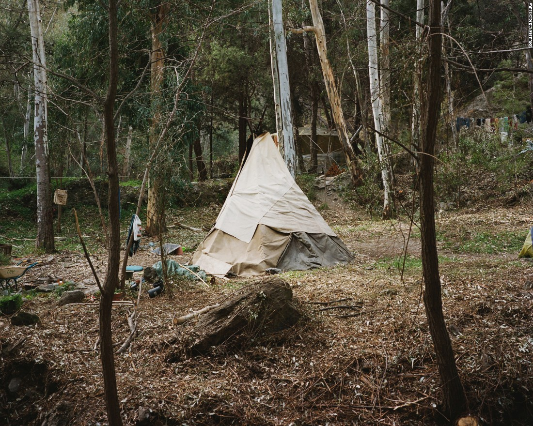 Others opted for the simpler dwelling of a teepee.