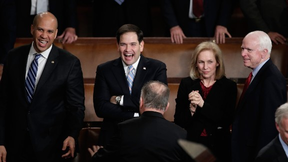 From left, Sens. Cory Booker, Rubio, Kristen Gillibrand and John McCain wait for Obama to deliver the State of the Union address in January 2014.