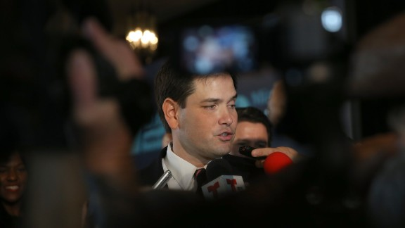 Rubio speaks with the media after delivering remarks during the graduation of small business owners from the Goldman Sachs 10,000 Small Businesses program held in Miami in February.