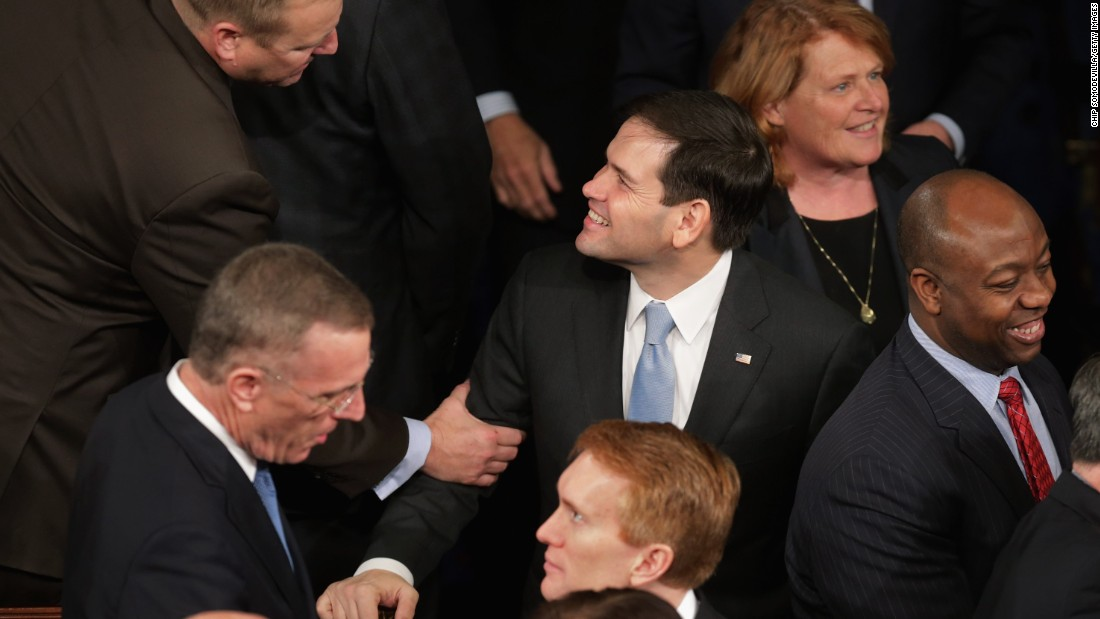 Rubio, center, arrives in the House chamber ahead of Israeli Prime Minister Benjamin Netanyahu's address to a joint meeting of the U.S. Congress in March.