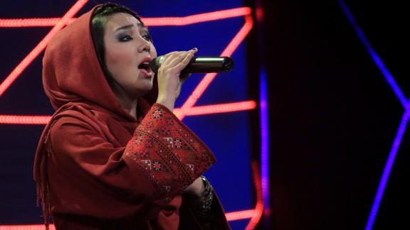 "Contestant Mursal Farhmand performs on ""Afghan Star."""