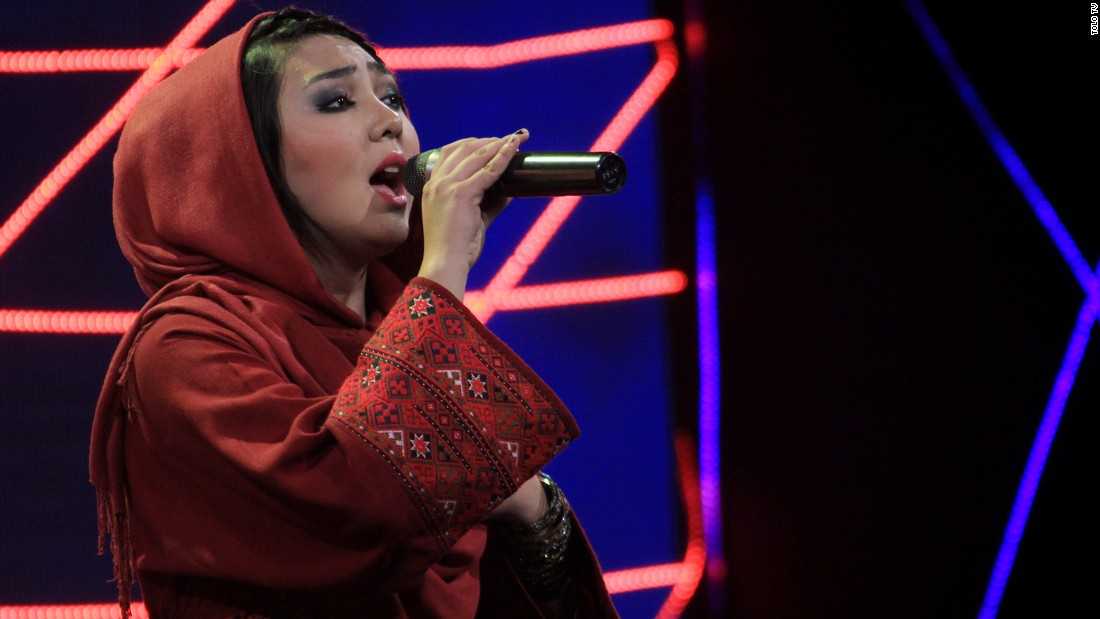 "Contestant Mursal Farhmand performs on ""Afghan Star."""