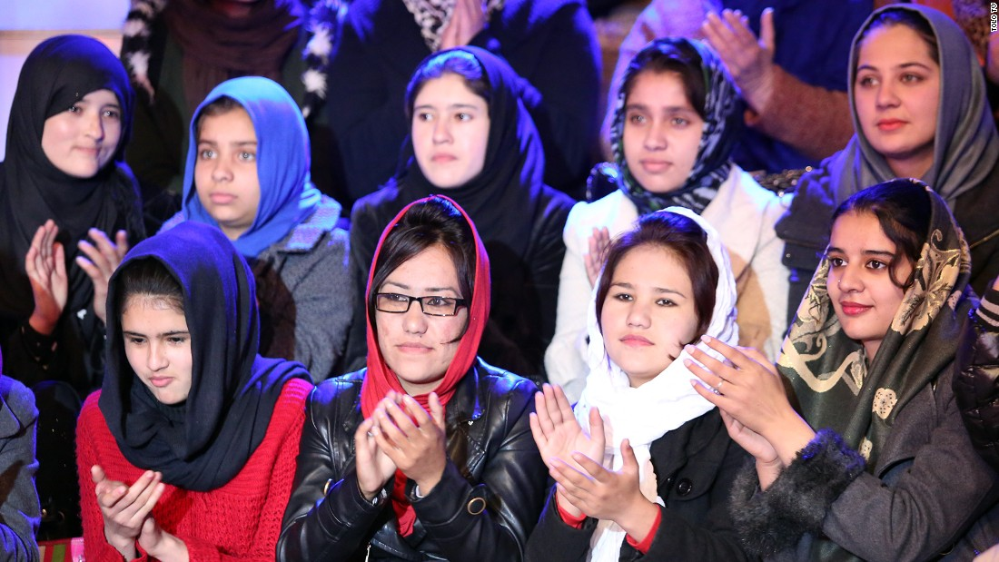 "Women in the audience of the show ""Afghan Star."""