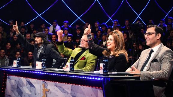 """""""Afghan Star"""" judges, from left: Sharif  Ghazal, Shadkam, Shahla Zaland, Qasem Rameshgar"""