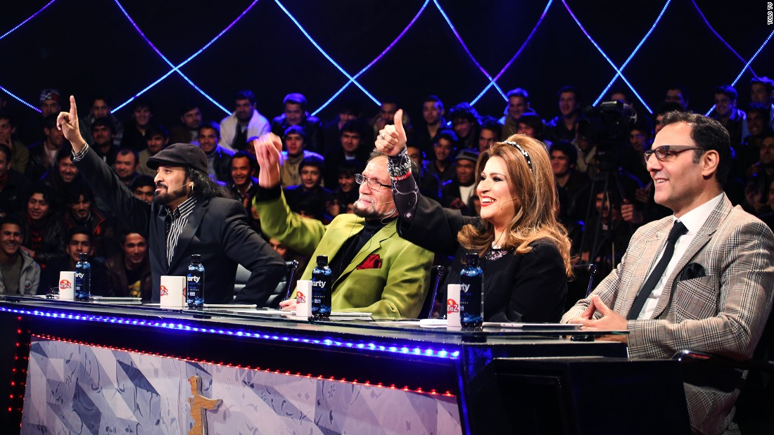"""Afghan Star"" judges, from left: Sharif  Ghazal, Shadkam, Shahla Zaland, Qasem Rameshgar"