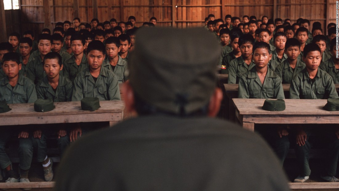 Young recruits are addressed by the head of the so-called Mong Thai Army in Burma in 1990.