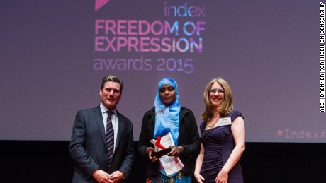 Doughty Street barrister Keir Starmer, campaigning award recipient and women's rights activist Amran Abdundi and Index on Censorship CEO Jodie Ginsberg.