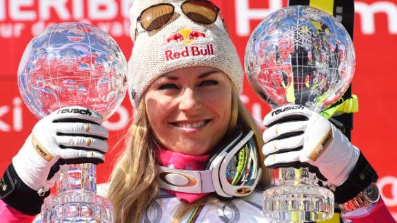 Skier Lindsey Vonn, in her comeback season after a serious knee injury, won World Cup titles in the downhill and the super-G this week in France.