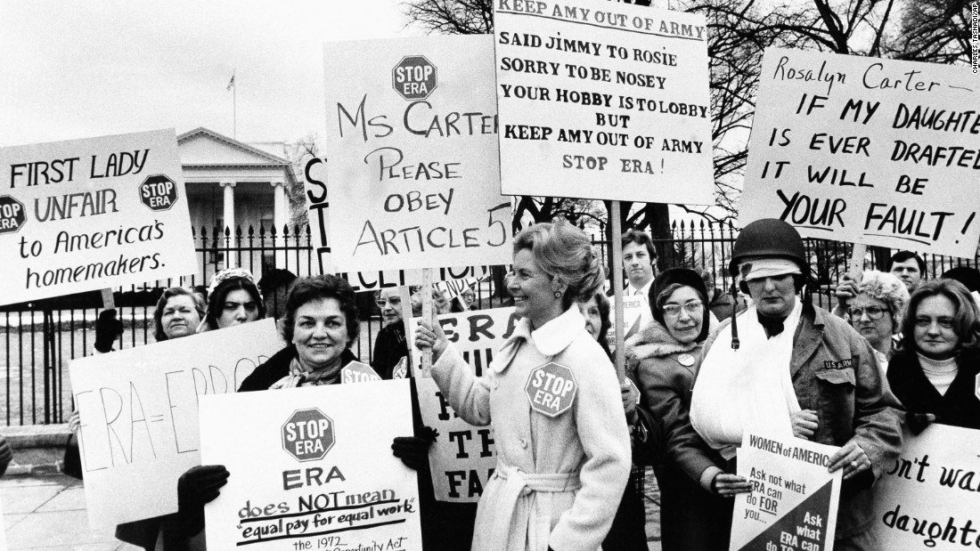 Schlafly led protests against the ERA, including this one at the White House in 1977. The group, about 200 strong, was protesting then-first lady Rosalyn Carter's campaign for the ERA. Amendment supporters like Eleanor Smeal, president of the Feminist Majority Foundation, say their real enemy was never Schlafly but big business and insurance companies.