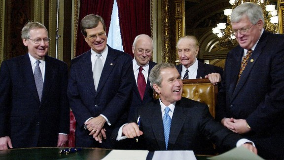 McConnell, left, Sen. Trent Lott, R-Mississippi, Vice President Dick Cheney, President George W. Bush, Sen. Strom Thurmond, R-South Carolina, and House Speaker Dennis Hastert, R-Illinois, are pictured during Bush's inauguration to his first term on January 20, 2001.