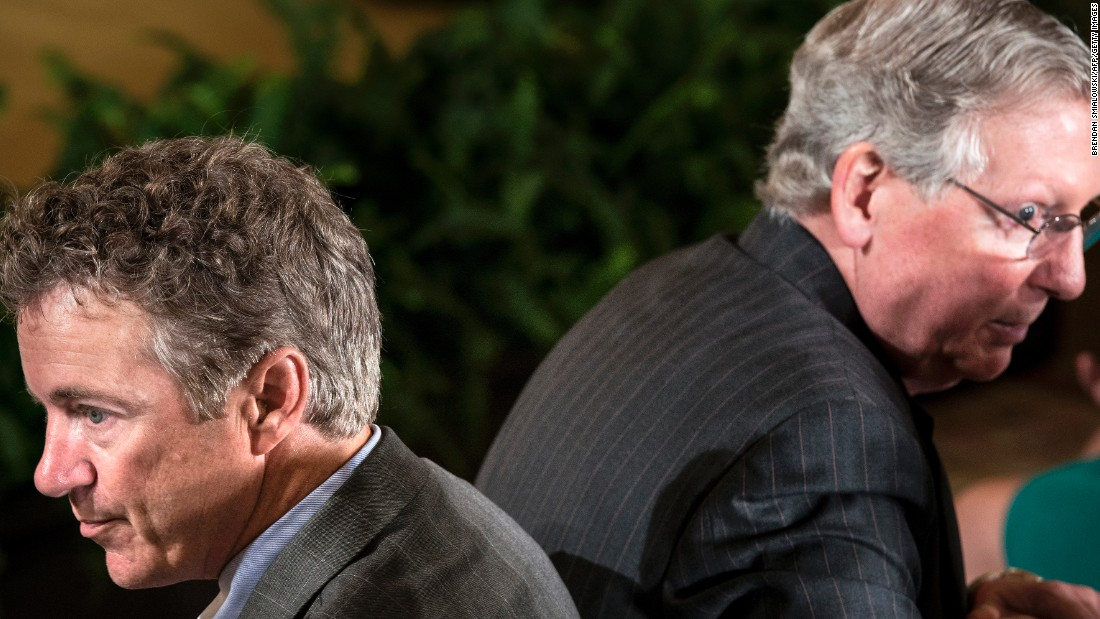 McConnell and fellow Republican Rand Paul, Kentucky's junior senator, attend an event in the East Room of the White House in July 2013.