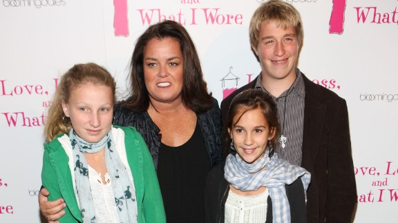 Actress and talk show host Rosie O'Donnell is shown with three of her then-four children in 2009. (Her fifth child was born in 2013.)