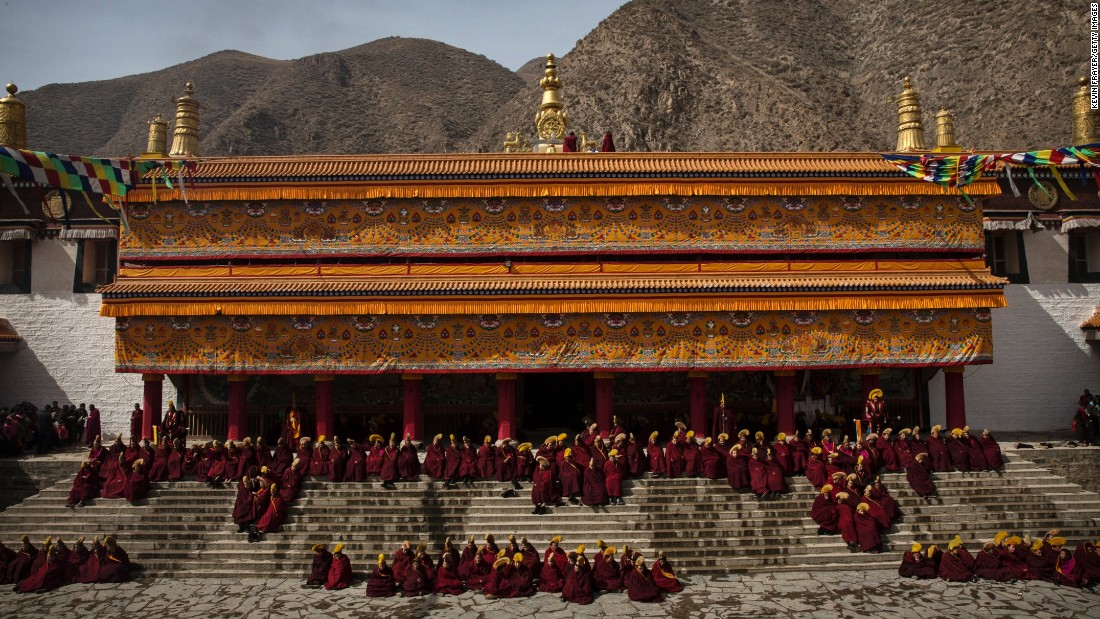 "Tibetan Buddhist monks gather at Labrang Monastery in a Tibetan region of northwest China's Gansu province to celebrate Monlam, or  ""Great Prayer"" rituals on March 5, 2015."
