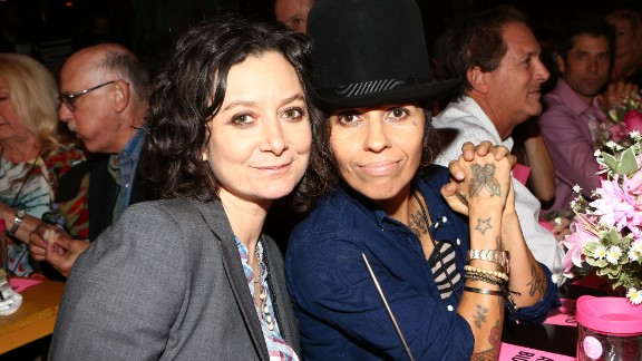 Sara Gilbert, left, and producer/musician Linda Perry welcomed a baby boy on February 28, 2015. Gilbert also has two children from a previous relationship.