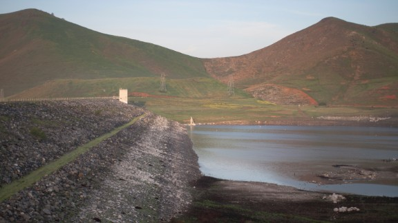 Low water is seen at the dam of Lake Success, near East Porterville, California, in February 2015.
