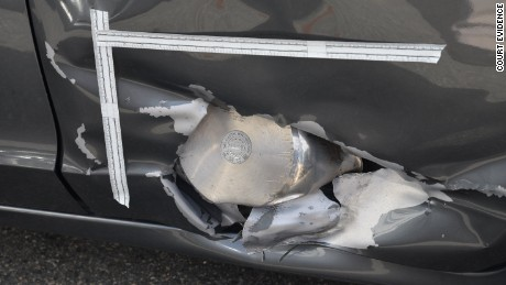 The pressure cooker was embedded in the side of a resident's Honda.