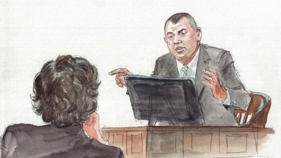 Joseph Reynolds,  the first Watertown patrol officer to respond, testifies at Tsarnaev's trial.
