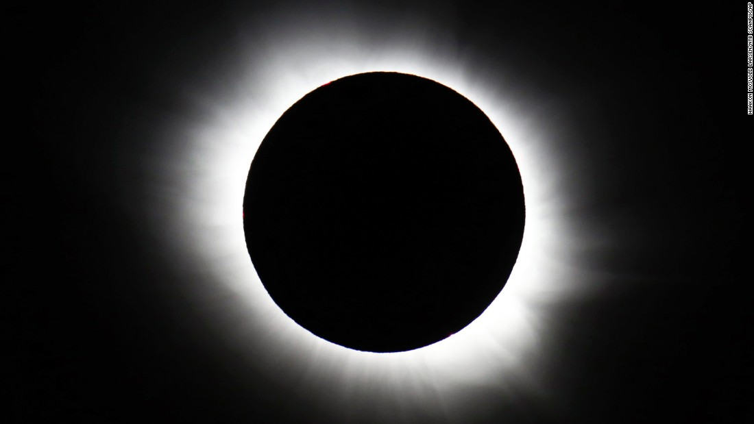 A total solar eclipse forms over Svalbard, Norway, on Friday, March 20. The solar event was visible from parts of Europe.
