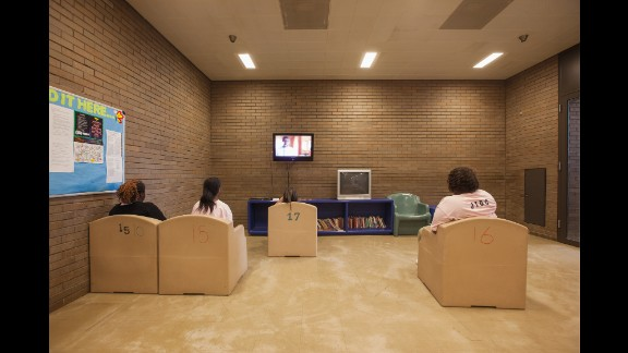 Inmates watch television at the Cook County Juvenile Detention Center in Chicago.