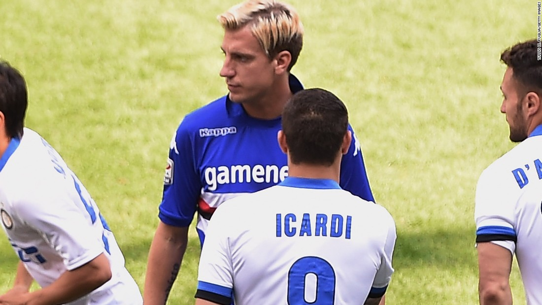 After Icardi switched to Inter, he took on Lopez's Sampdoria last April. Lopez, middle, refused to shake his hand before the game.