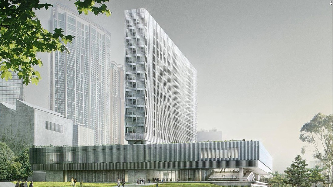An artist's rendering of the under-construction M+ museum in West Kowloon Cultural District.