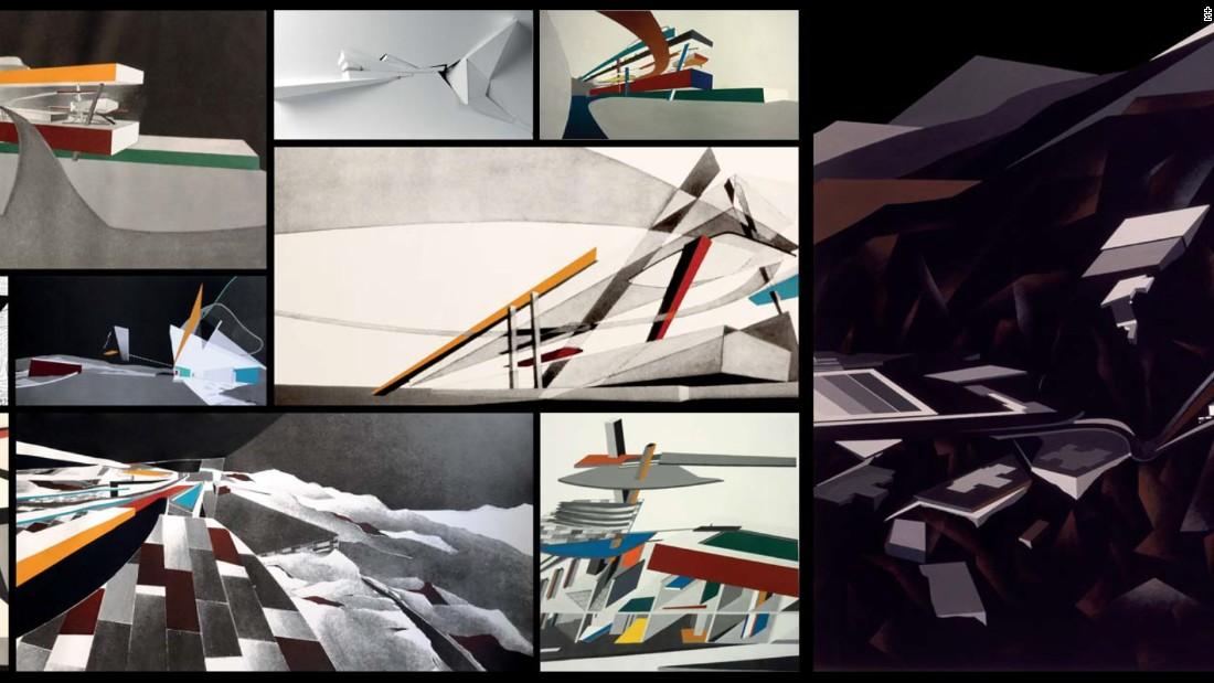 Zaha Hadid: Peak Proposal (1982/1983), Set of 12 works (1 painting on paper; 9 printed and acrylic painted canvases; 1 set of overlaid plans; 1 paper relief.